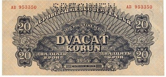 Historical banknote 1944  -  20 Czecho-Slovakian crowns