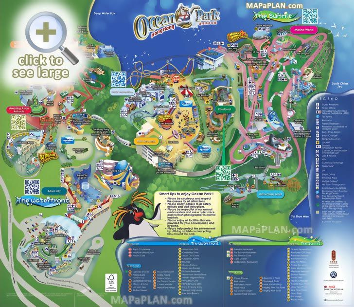 ocean park fun things do family kids birds eye 3d buildings aerial virtual interactive view poster Hong Kong top tourist attractions map