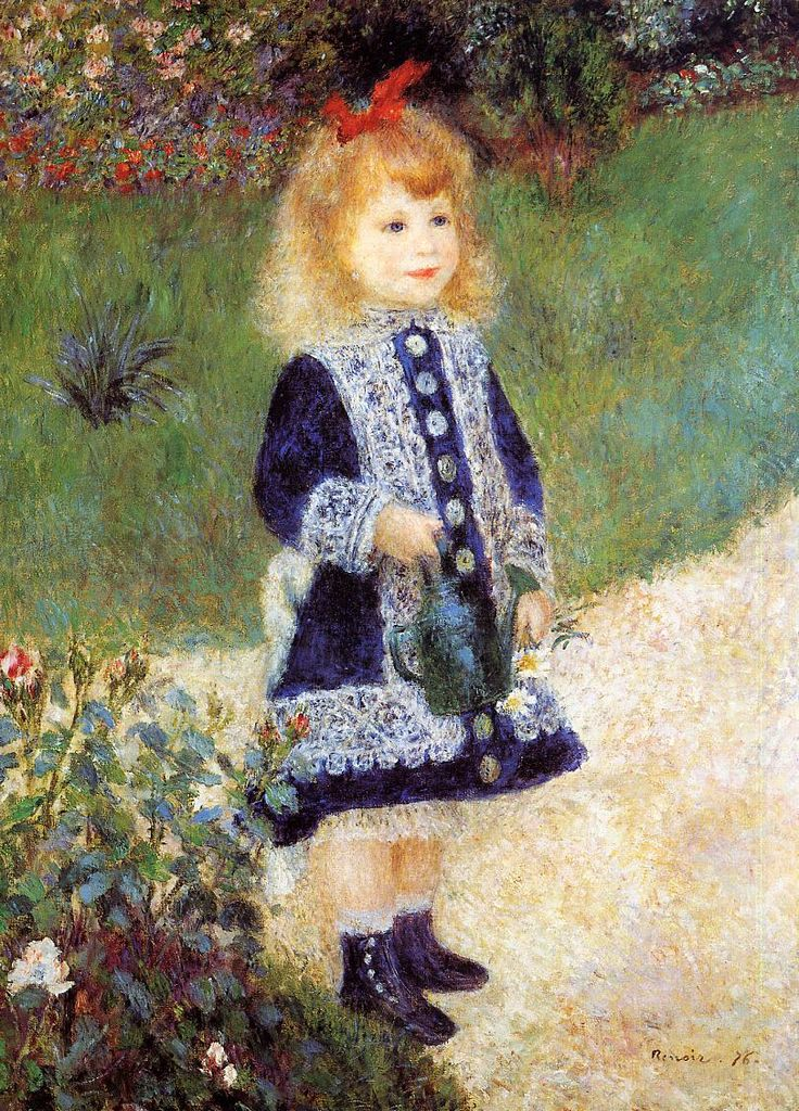 Girl with a Watering Can - Pierre-Auguste Renoir~~this painting is one of my earliest memories. Mom had a copy of it hanging in the upstairs hallway