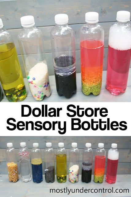 Simple sensory bottles for babies made from items from the Dollar Store