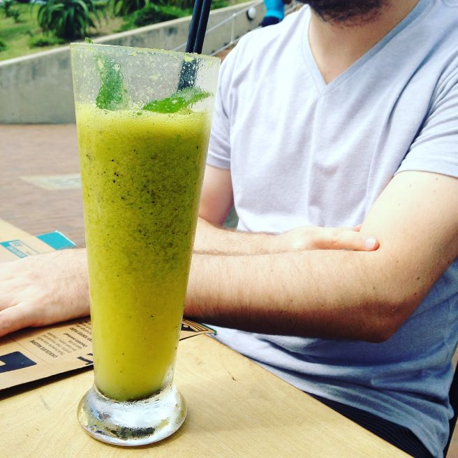 Sam's Crazy Detox (with granadilla {they ran out of orange juice}, Celery & Mint) @ Surf Riders Food Shack on South Beach, Durban. Click for the full restaurant review.