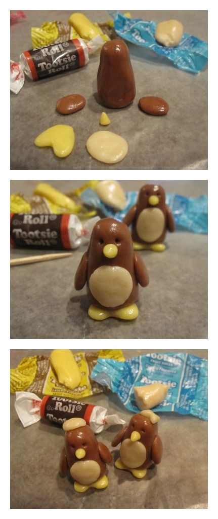 Simple Tootsie Roll Penguin Cupcake Toppers