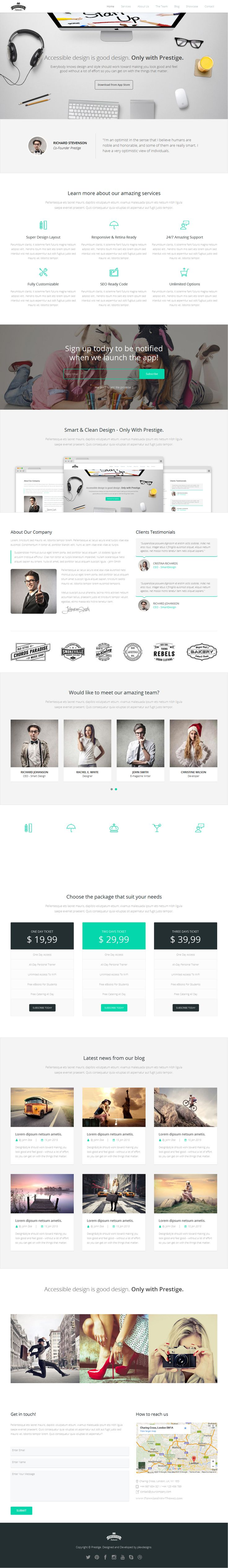 Prestige is a clean and modern #Muse template, very easy to customize according to your needs. This #landingpage #template can be used to promote web apps, mobile apps and all kind of marketing and startup websites. Quick and easy to setup.