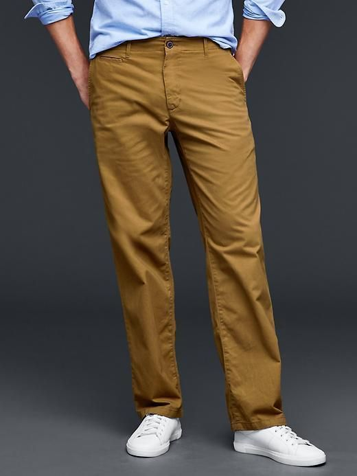 GAP Men Lived-in Relaxed Khakis Pants Chino Brown 981685 100% Cotton 32*32 #GAP #KhakisChinos