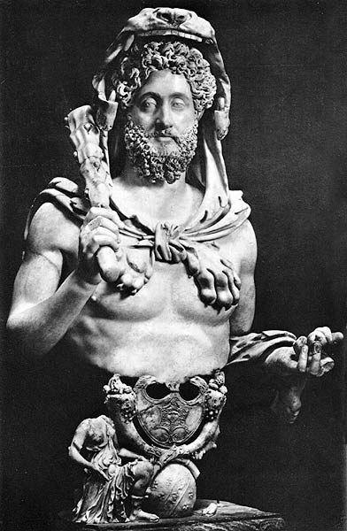 Portrait bust of the  Emperor Commodus as the god Hercules, marble, just under 4' h, c. 180-192 A.D. (Palazzo dei Conservatori, Capitoline Museums, Rome) |Lectures by Sandra J. Shaw  <3