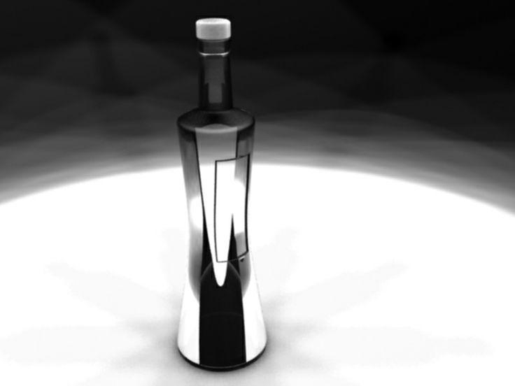 3D max rendering alcohol bottle design