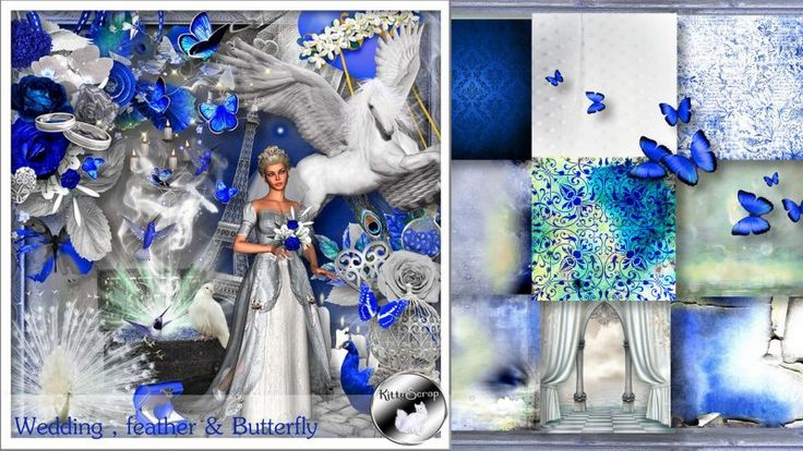 kit wedding , feather & butterfly by KittyScrap