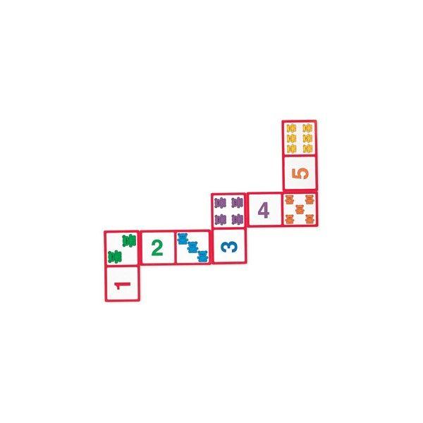 Domino degli orsetti Domino composto da 28 tessere giganti per giocare anche sul pavimento, con orsetti colorati per imparare a riconoscere i numeri e a contare.