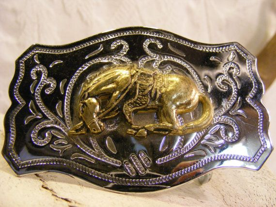 Rodeo Belt Buckle Horse Belt Buckle Chrome and Brass by 31North, $25.00