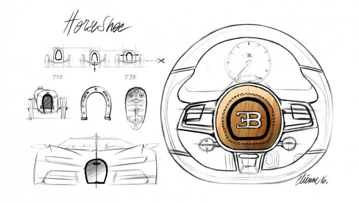 Bugatti Chiron Horse Shoe theme design sketches grille and steering wheel