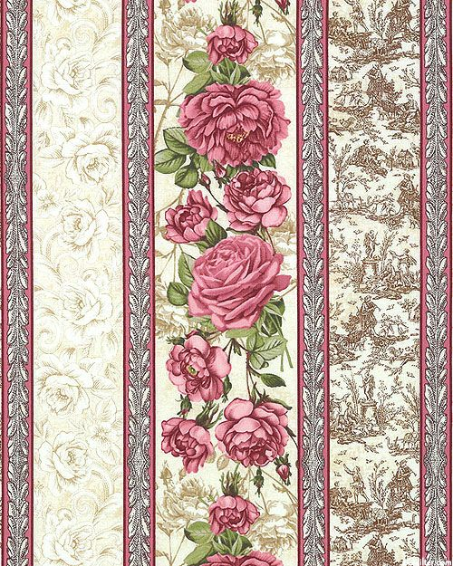 Paris Rendezvous - Rose Toile Stripe - Cream