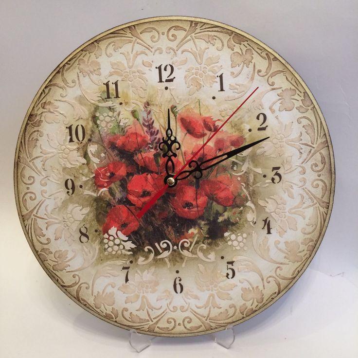 Купить Часы С МАКАМИ декупаж - часы декупаж, Часы настенные декупаж, часы…