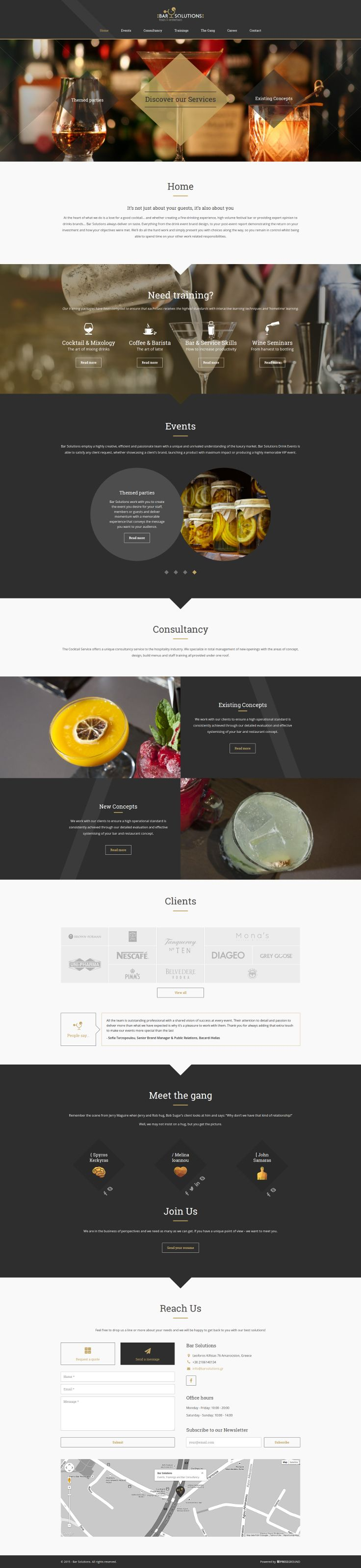 A particularly beautiful #web #design powered by #Pressground and delivered by the #Hardpixel #team for #BarSolutions #Greece.
