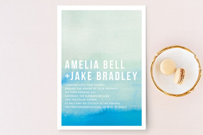 """Ombre"" - Modern, Simple Wedding Invitation Petite Cards in Cyan by Dean Street."