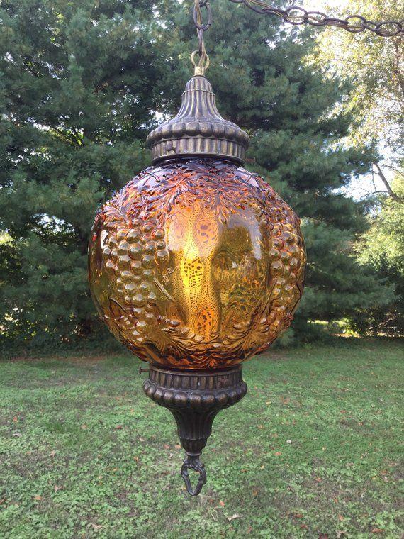 Vintage Swag Lamp, Vintage Swag Light, Vintage Amber Swag Lamp