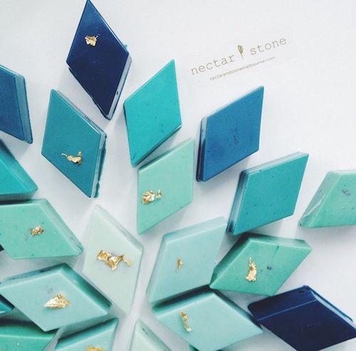 Nectar stone, food, chocolate, blue, creation, diamond, beautiful, fancy, gold