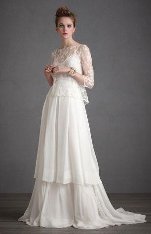 REVEL: Long Sleeve Wedding Dress how pretty this would be in other colors for not a wedding dress