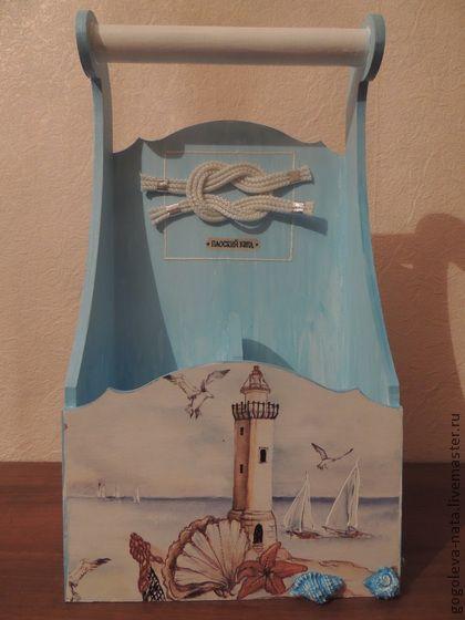 Короб для двух бутылок - подарок,короб,море,морской пейзаж,для бусин,мужчине