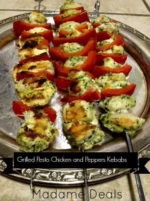 Low Calorie Grilled Pesto Chicken and Pepper Kebabs #recipes