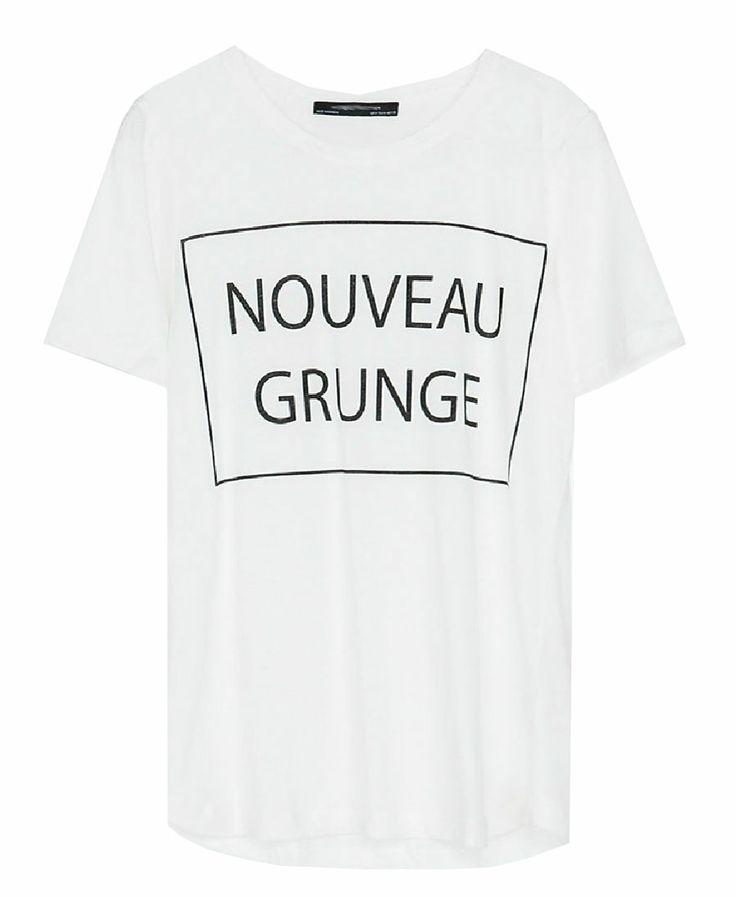 Relaxed Style Letter Print White Round Neckline Short Sleeve T-shirt