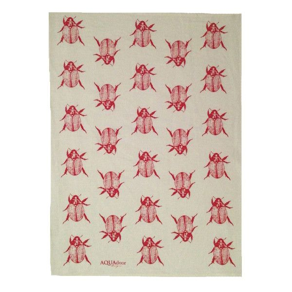 Red Christmas beetle linen tea towel (off-white or natural)