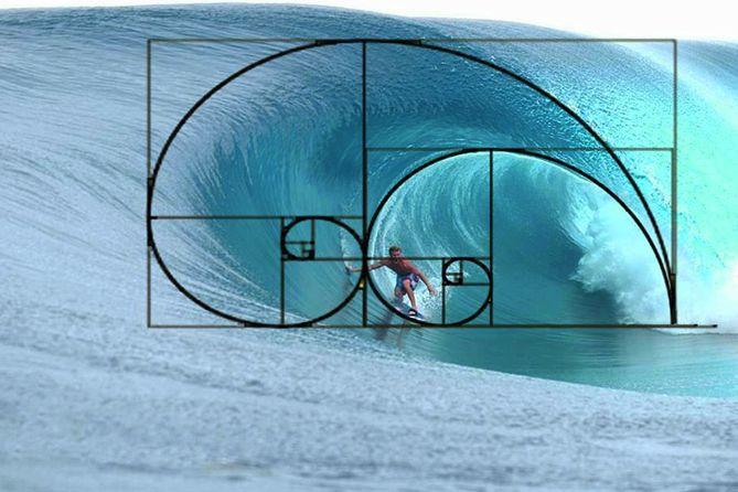 Surf Fibonacci spiraal. En als surfer kan je je precies daar bevinden, bij deze ontlading van energie, in dat magisch moment.