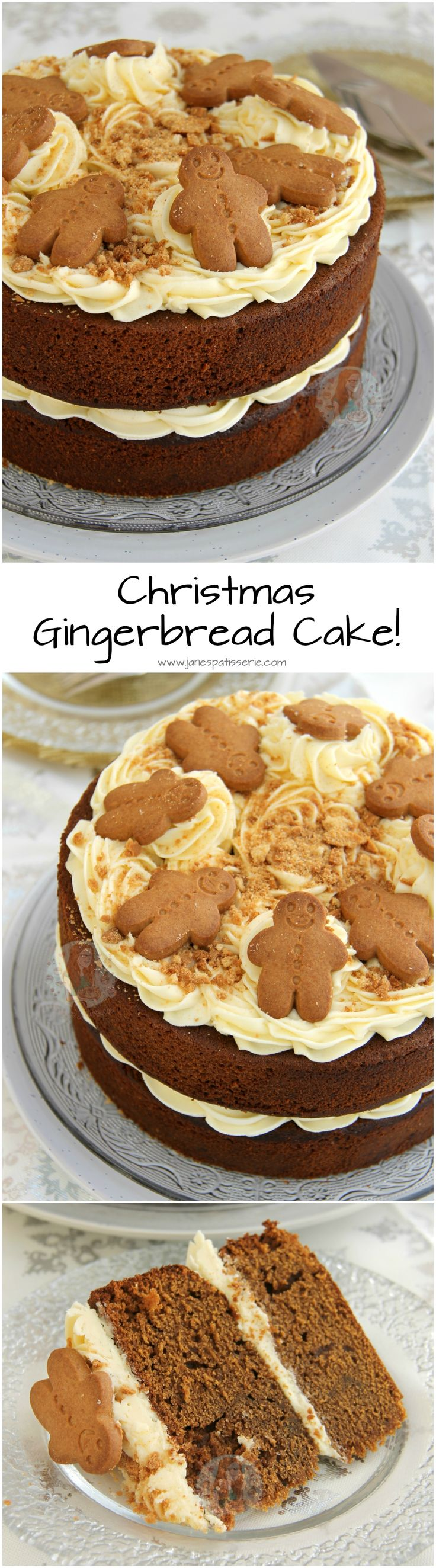 Christmas Gingerbread Cake!! A Two-Layer Gingerbread Cake with Ginger Buttercream Frosting.. the perfect Christmas cake for the Festive Season!