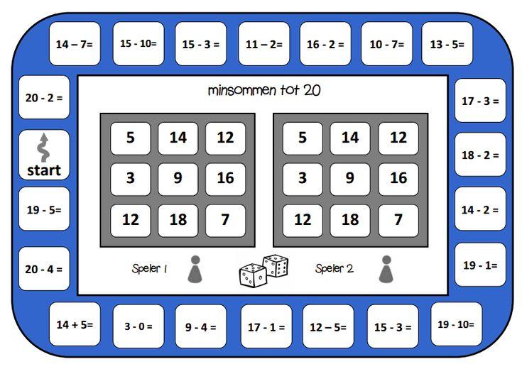 Bingo voor 2. Spelbord minsommen tot 20.