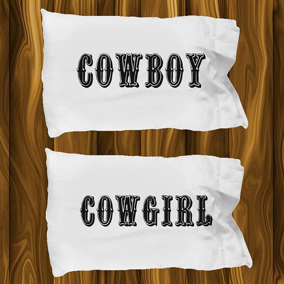 Cowboy and Cowgirl Pillow Cases  2 White Standard