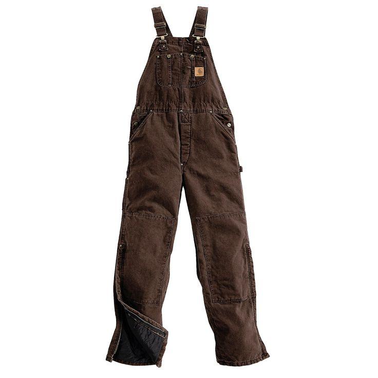 Carhartt Quilt-Lined Bib Overalls - Sandstone Duck (For Men) in Dark Brown