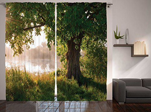 Ambesonne Oak Tree Decor Collection Mystic Landscape Foggy Scene And Stream View Painting Window Girls Room CurtainsLiving