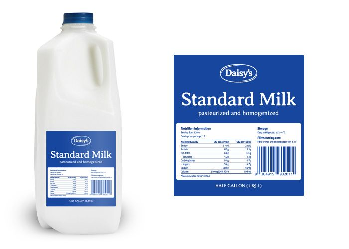 Budget Milk Label - FREE Art Department Resources for film.    This milk fits in any worn out kitchen, for a character who leads a non-glamorous life with financial realities – or just doesn't care that much. #filmmaking #resources