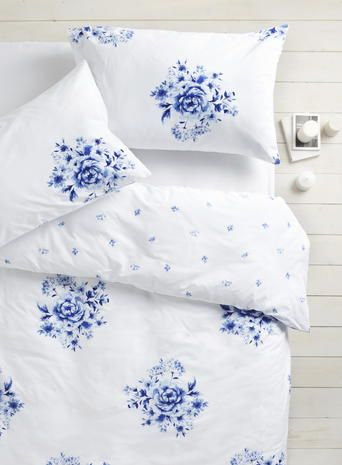 Blue China Rose Bedding Set