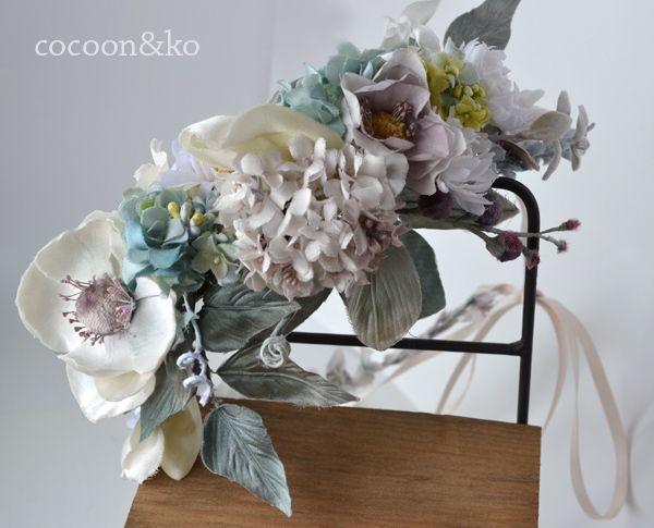 参考作品*パープルピンクの藤やアネモネの花冠 by cocoonandko アクセサリー ヘアアクセサリー
