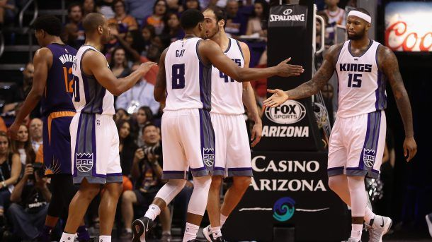#NBA  PHOENIX, AZ - OCTOBER 26:  DeMarcus Cousins #15 (R) of the Sacramento Kings high fives Rudy Gay #8 after scoring against the Phoenix Suns during the second half of the NBA game at Talking Stick Resort Arena on October 26, 2016 in Phoenix, Arizona. The Kings defeated the Suns 113-94. ... (Photo by Christian Petersen/Getty Images)