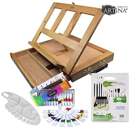 From 26.49 Artina Table Easel Colmar Watercolour Painting Box Easel Art Set Tabletop Workstation With Watercolours Mix Pallet & Brushes