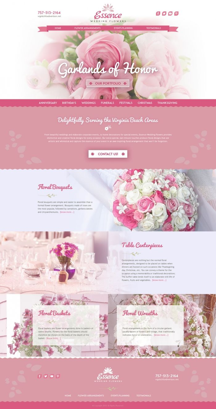 Essence Wedding Flowers Landing Page Design Proposal