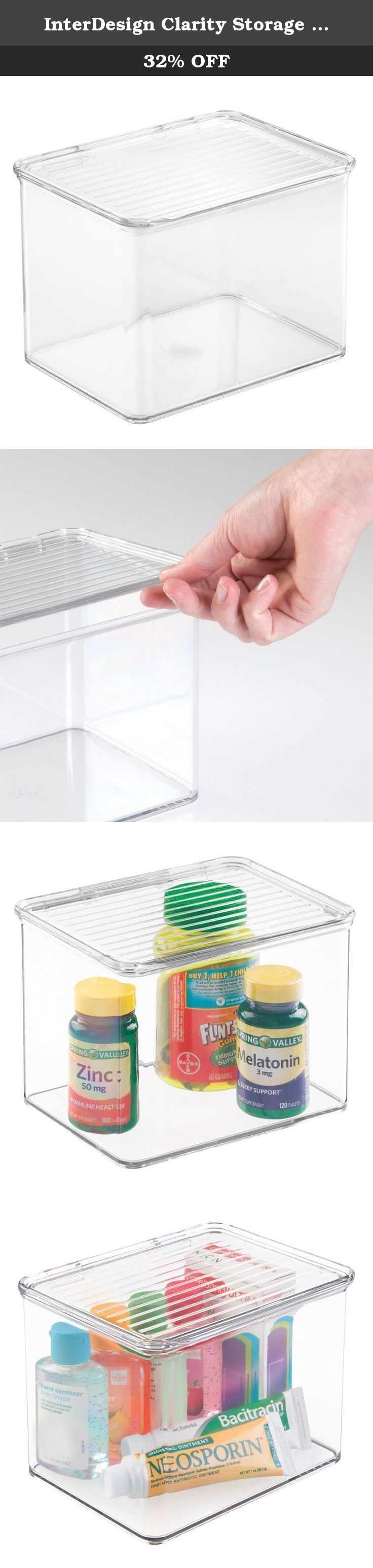 InterDesign Clarity Storage Box Organizer for Vitamins, Medicine, Medical, Dental Supplies with Lid, 2.2 quarts, Clear. The InterDesign clarity medicine & vanity storage box is great for medicine storage, first-aid kits, makeup, vitamin storage & more! the hinged lid assures contents are safe & easily accessible. Boxes stack for organization.