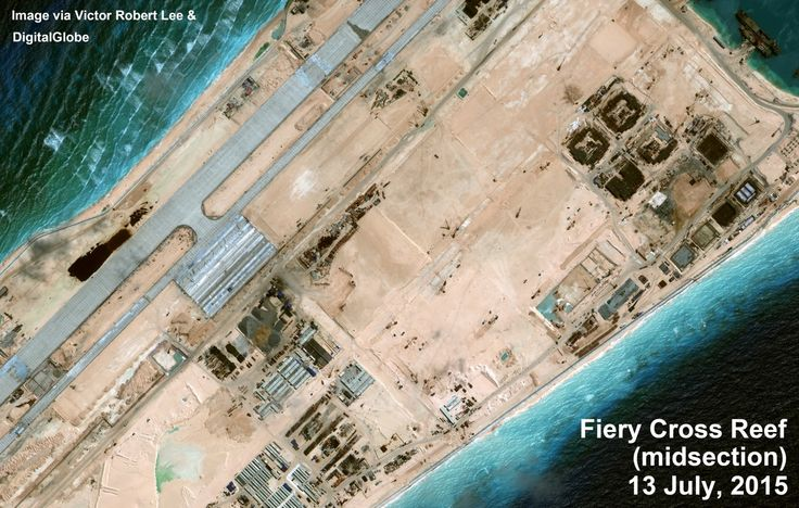 Fiery Cross Reef, Spratly Islands. Middle section. Satellite image taken July 13, 2015. From author Victor Robert Lee. https://medium.com/satellite-image-analysis/fiery-cross-reef-south-china-sea-satellite-image-update-81a29f5835a6