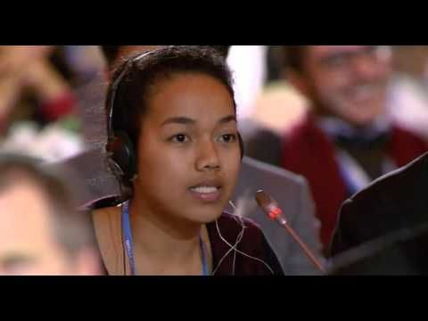 Selina Leem, 18 year old from Marshall Islands, speaks at final COP21 plenary - YouTube