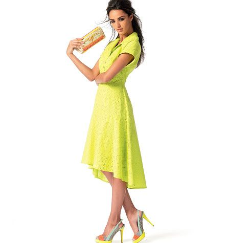 M6742. Double trendy! Kate Middleton-esque yellow shirt dress AND high-low hem.