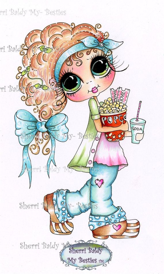 INSTANT DOWMLOAD Digital Digi Stamps Big Eye Big Head Dolls Digi Img098 Best Besties Forever By Sherri Baldy