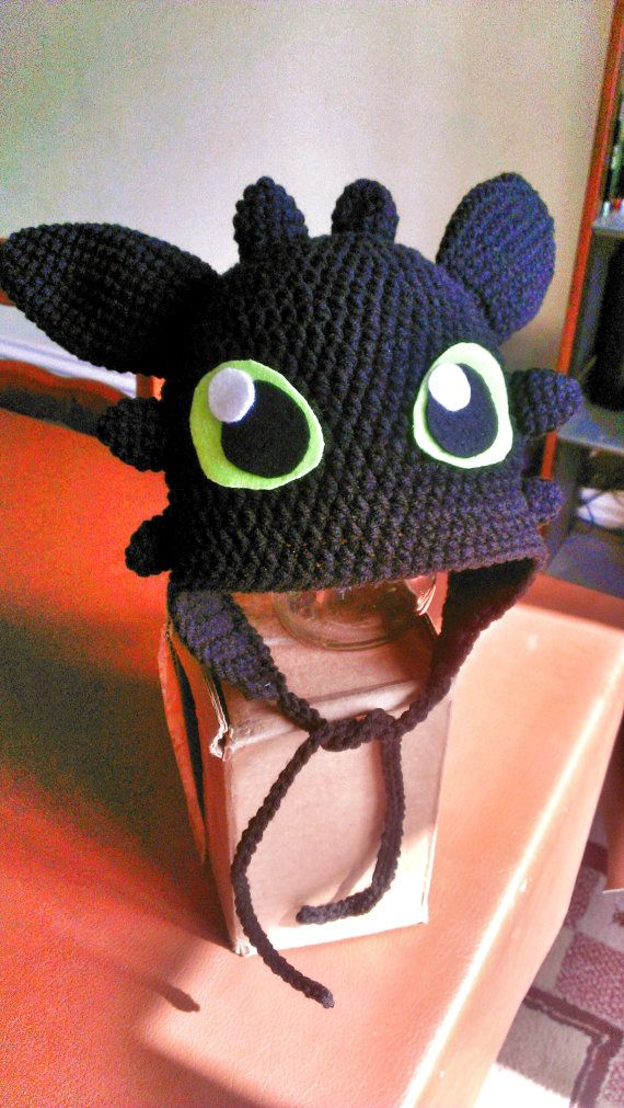 Crochet Dragon Hat Inspired by Toothless by TheCrochetDisplay