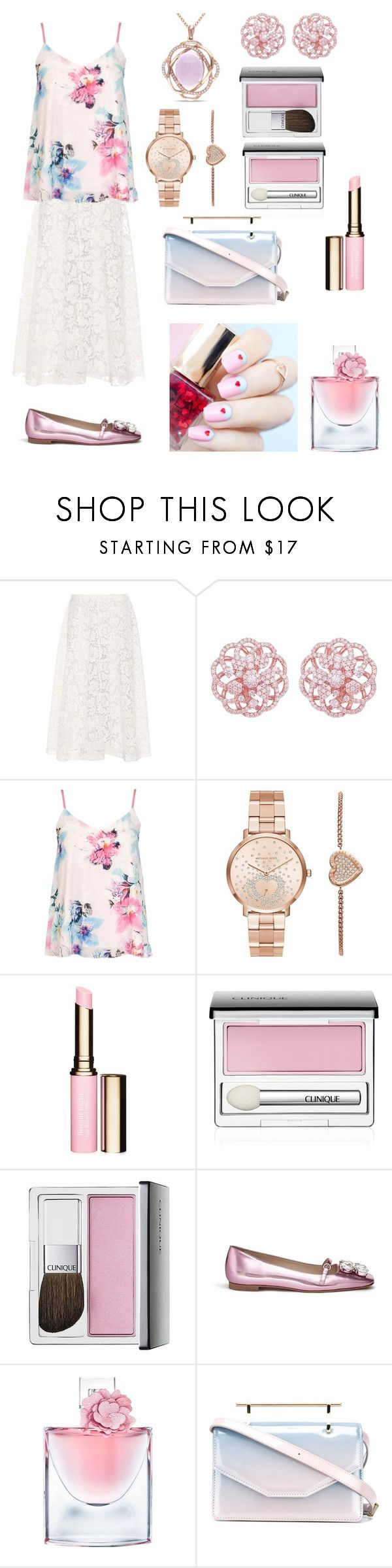 """""""Light colored fashion"""" by ashleyhuang68 ❤ liked on Polyvore featuring Valentino, Emilio!, Dorothy Perkins, Michael Kors, Clarins, Clinique, ncLA, Frances Valentine, Lancôme and M2Malletier"""