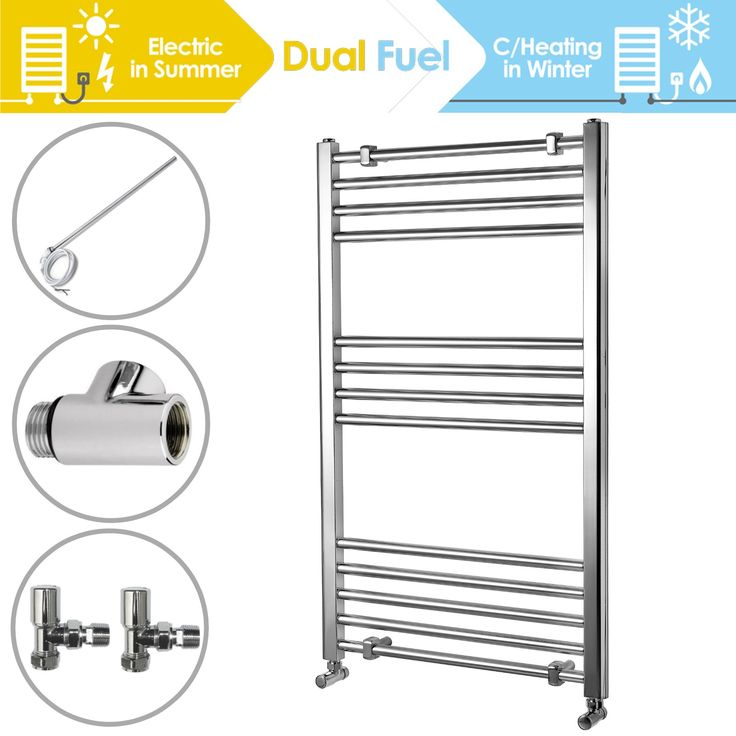Straight 1000 x 600 mm Heated Towel Rail Chrome incl. Dual Fuel Kit - Dual Fuel Towel Rails - Heating