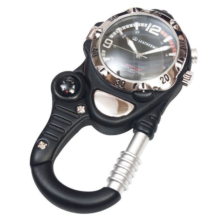 "LEATHERMAN SPRING CLIP WATCH W/MAGNIFIER / COMPASS WHITE ""FREE POSTAGE"" YLW17BK"