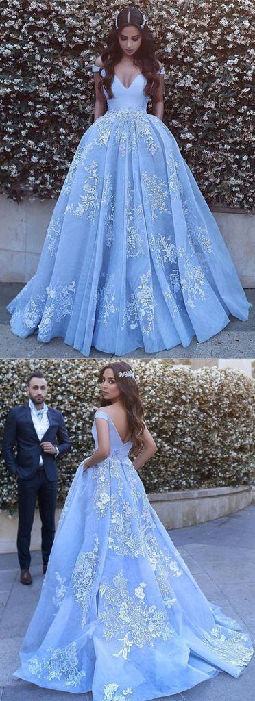 A-line off shoulder blue tulle lace appliques long prom dress, PD7677