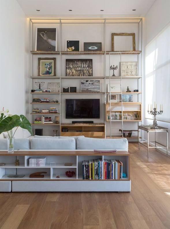 Home Ideas Bookshelf Sofa Living Room Salones Rectangulares Decoracion De Interiores Salones Salon De Casa
