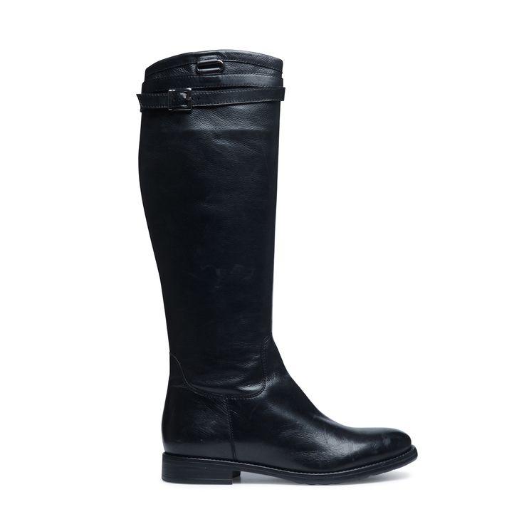 Zwarte leren hoge laarzen met riem | Dames  | MANFIELD