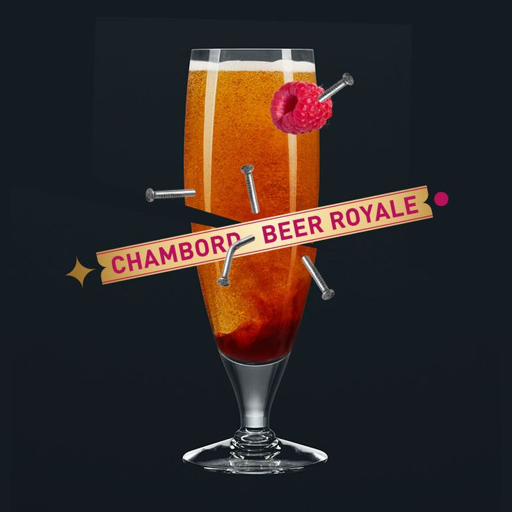 To make a Chambord Beer Royale, pour beer (12oz) into glass and top with Chambord liqueur (1 ½ oz). Bravo.